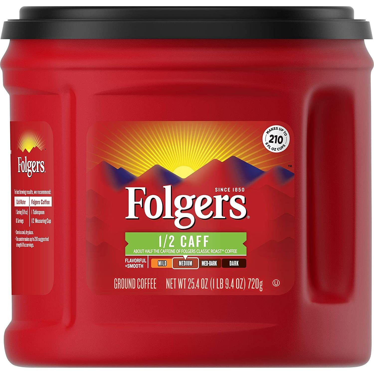 Folgers Half Caffeinated Medium Roast Ground Coffee