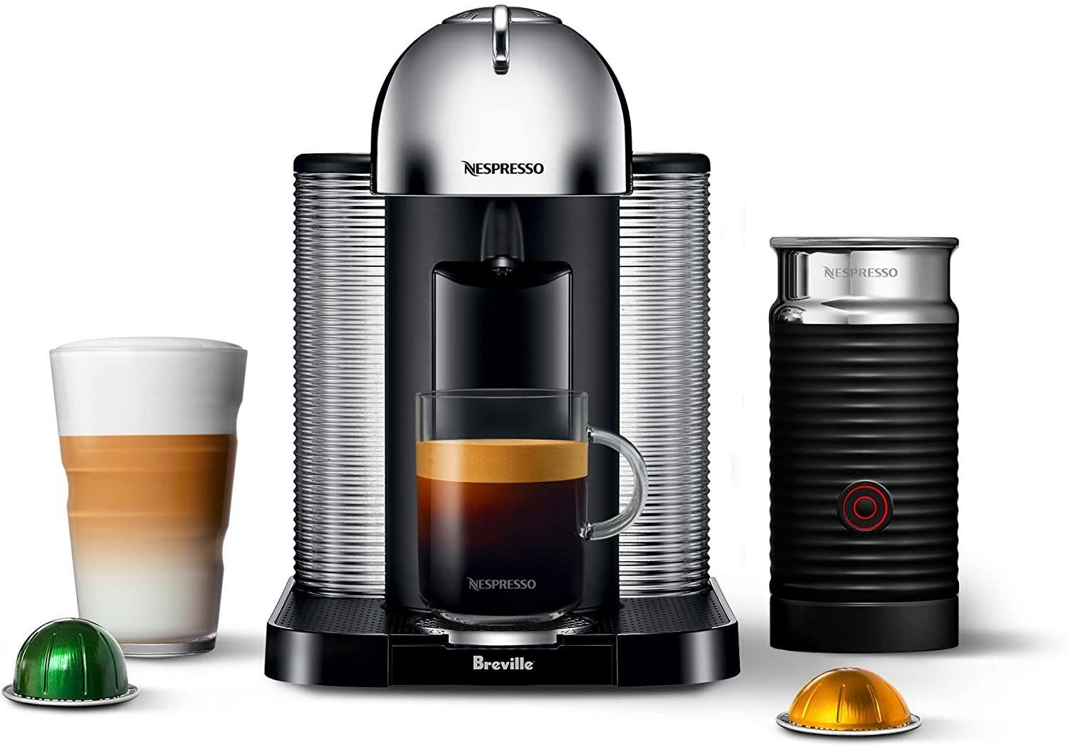 Nespresso Vertuo Coffee and Espresso Machine by Breville with Aeroccino Chrome