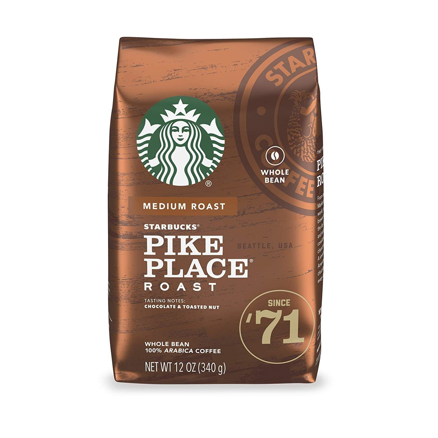 Starbucks Medium Pike Place Roast Whole Bean Coffee
